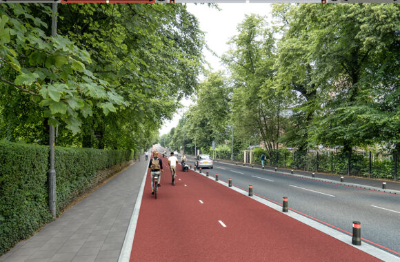 Birectional cycle track with posts