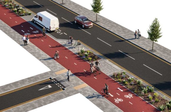 Continuous Pavement & Bidirectional Cycle Track